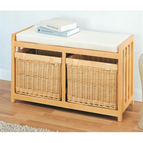 Wicker Storage Bench Willow Wicker Two Drawer Storage Bench In Storage Benches