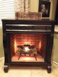 house undercover dresser turned fireplace