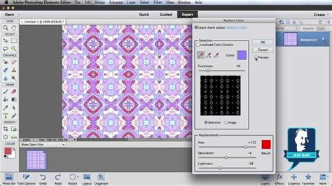 edit pattern color photoshop change the color of a pattern in photoshop elements youtube