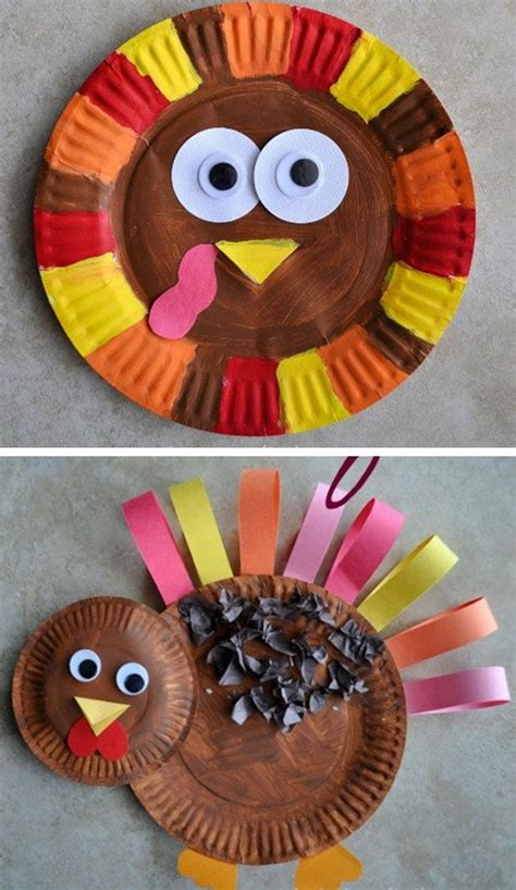 Paper Plate Turkey Craft - 35 easy thanksgiving crafts for to try