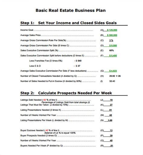 10 Real Estate Business Plan Templates Sle Templates Basic Business Plan Template Pdf