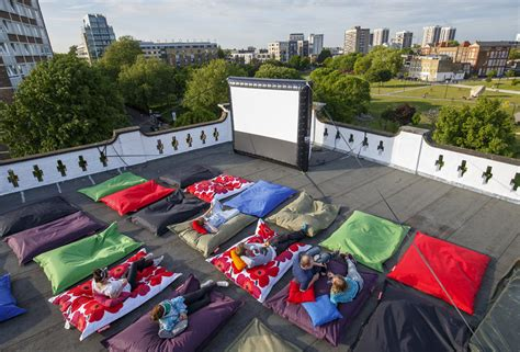 bean bag cinema pillow cinema goes alfresco on a rooftop in shoreditch