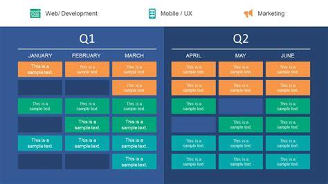 quarter roadmap powerpoint table slidemodel