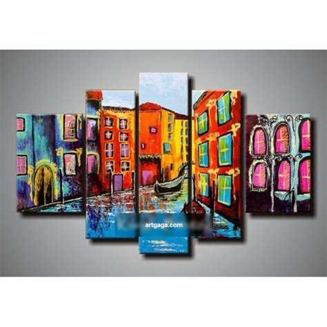 9 Pieces Dining Room Sets hand painted abstract 5 panel canvas art living room wall