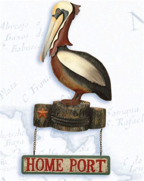 15 inch home port pelican plague nautical decor nautical