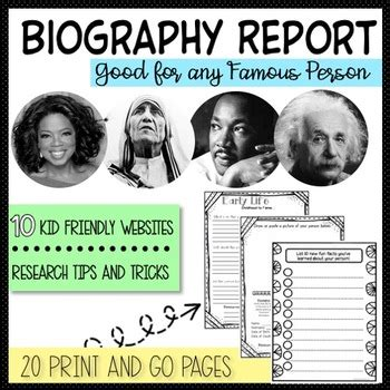 biography list for 5th graders biography report research template project 3rd 4th 5th