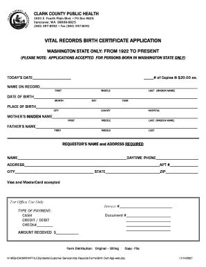 Clark County Birth Records Printable Birth Certificate Application Wa Templates To Submit Affidavit Of