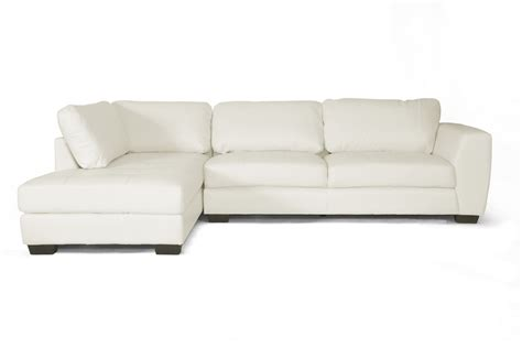 White Leather Sectional Sofa With Chaise Baxton Studio Orland White Leather Modern Sectional Sofa Set With Left Facing Chaise