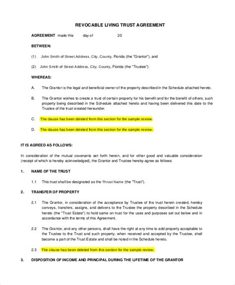 trust agreement template sle living trust form 8 exles in pdf word