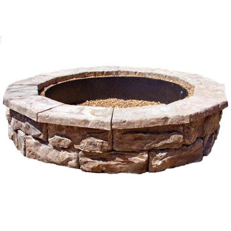 fossill stone 60 in concrete brown round fire pit kit