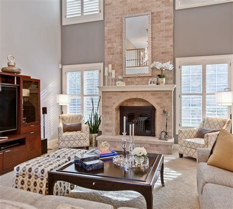great room   story fireplace interiors   view
