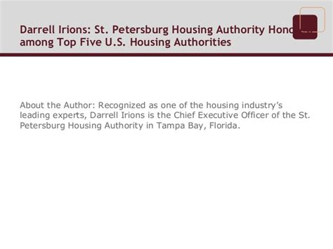 st pete housing darrell irions st petersburg housing authority honored among top fi