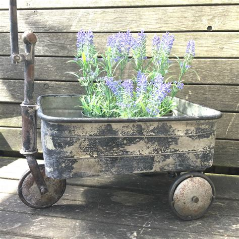 Cart Planter by Antique Vintage Style Metal Garden Cart Trolley Plant