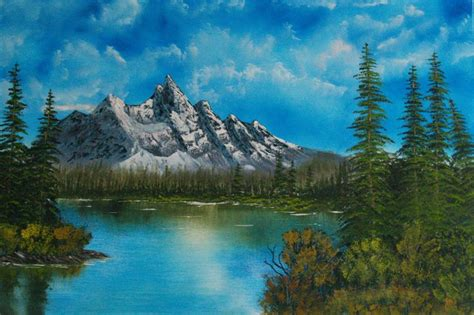 bob ross painting lake bob ross style