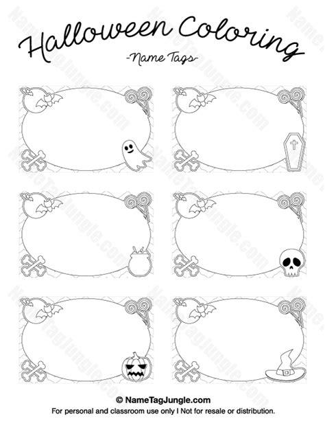 coloring page name tags printable halloween coloring name tags