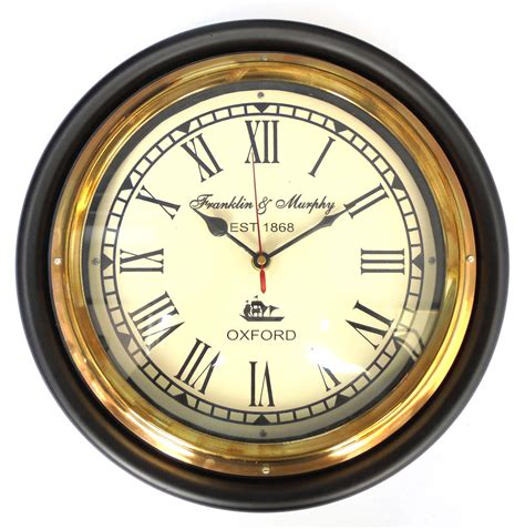 clock buy buy ageless azyra vintage antique look wood and brass wall clock 12 quot in india 81828024