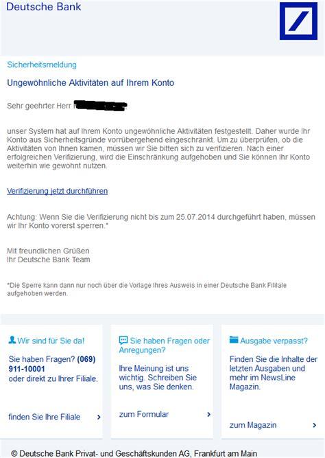 deutsche bank sperren phishing mail alerts deutsche bank service nachricht