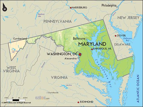 geographical map  maryland  maryland geographical maps