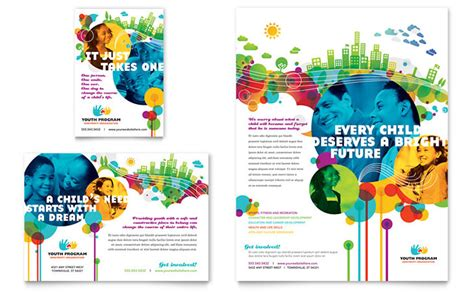 desain kalender poster youth program flyer ad template design