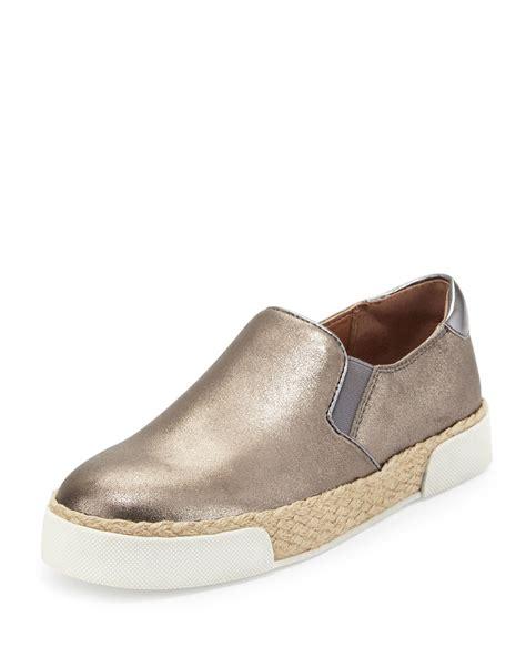 metallic slip on sneakers sam edelman banks metallic slip on sneaker in metallic lyst