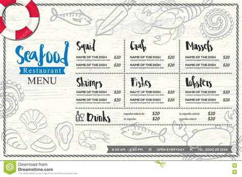 Seafood Restaurant Placemat Menu Design Vector Template With Hand Drawn Graphic Stock Vector Placemat Menu Templates