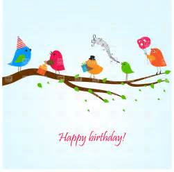 birthday greeting card with birds on the branch singing