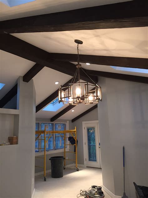 vaulted ceiling with exposed beams building a new home with exposed beams faux wood workshop