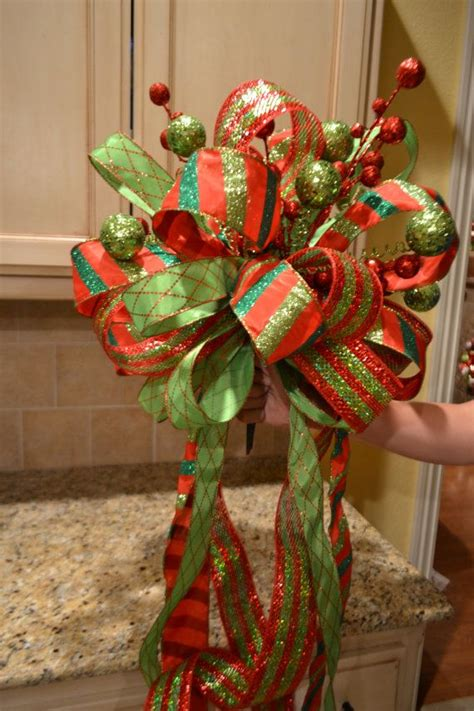 lime green and red striped ribbon tree topper by