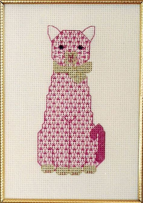 cat applique pattern wall hanging the pink cat cross stitch pattern ps 9708 intermediate
