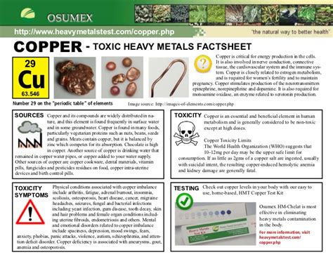 Copper Detox How by Copper Toxicity And Symptoms Factsheet