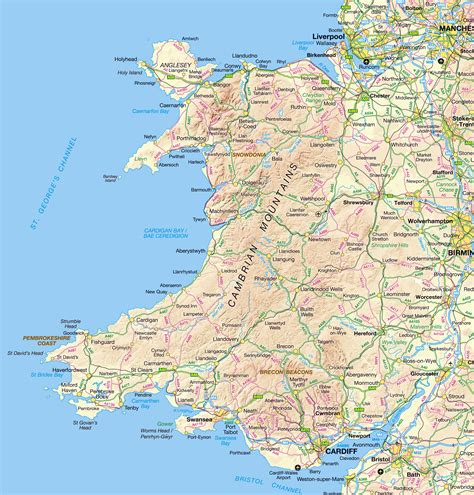 map of wales large detailed map of wales with relief roads and cities wales united kingdom europe