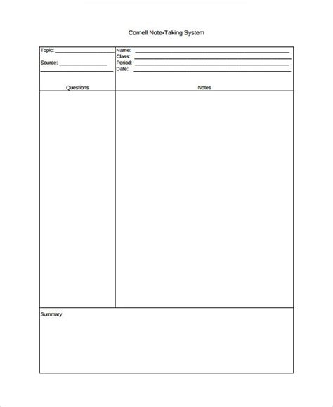 9 Cornell Note Taking Templates Sle Templates Note Taking Template