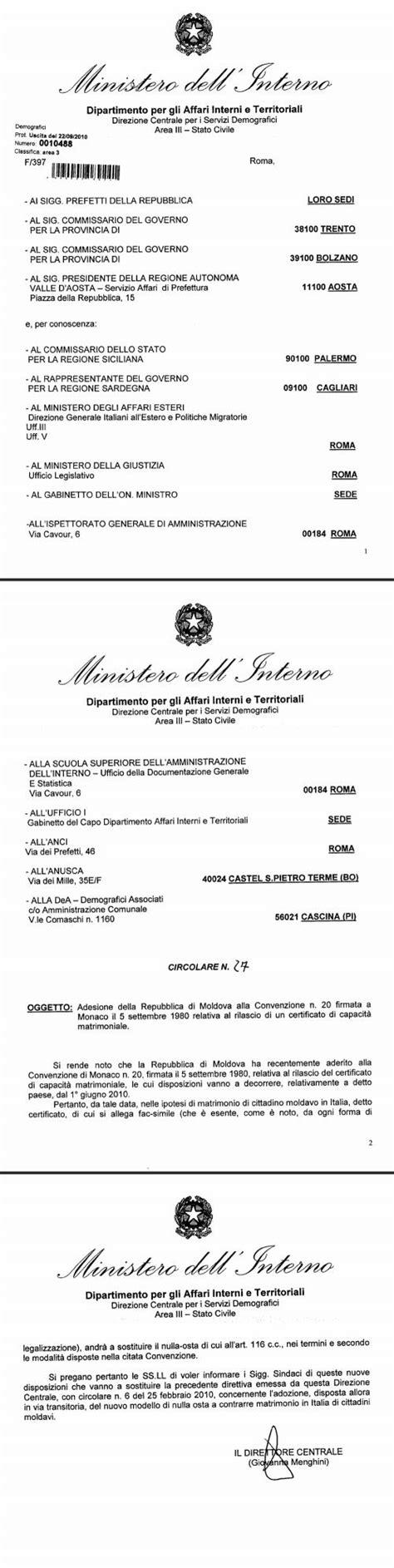 consolato moldavo in italia adesione della repubblica di moldova alla convenzione n 20