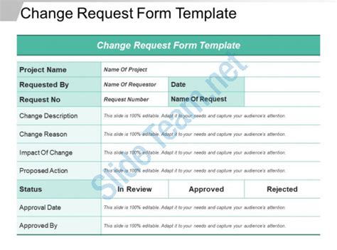 Change Request Form Template Ppt Sles Templates Powerpoint Slides Ppt Presentation Modify Template Powerpoint