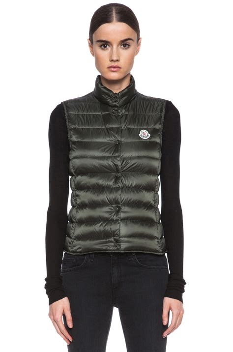 Bench Jackets Women Moncler Liane Vest In Green Olive Lyst