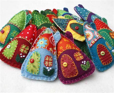 Handmade Felt Decorations - felt ornaments handmade felt houses colourful