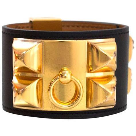 Hermes Bracelet Black Ghw hermes black leather cdc collier de chien cuff bracelet sz