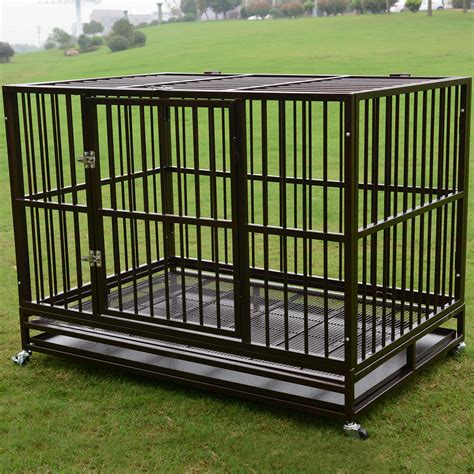 """48"""" Heavy Duty Pet Dog Cage Large Crate Kennel w/ Tray"""
