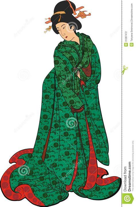 green pattern kimono japanese woman in a green kimono stock photography image