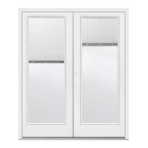 Mini Blinds For Patio Doors Jeld Wen 60 In X 80 In White Right Inswing Steel Patio Door With Tilt And Raise
