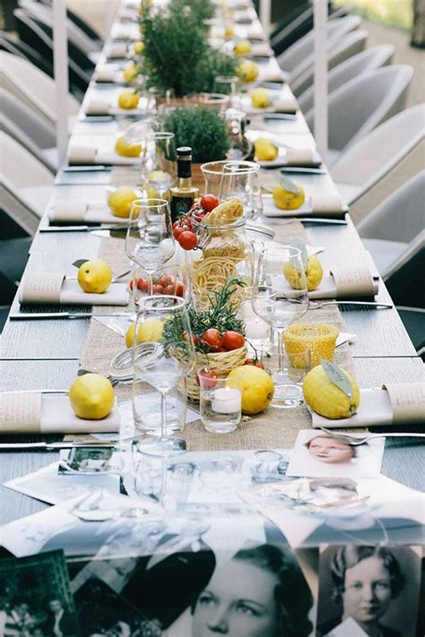italian wedding table decor loving the spaghetti in containers and fresh lemons on the table