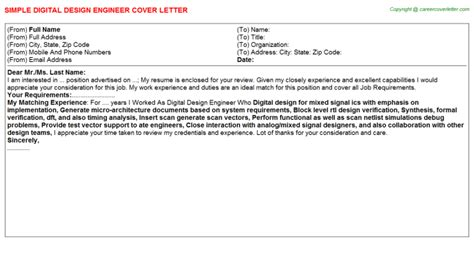 Component Design Engineer Cover Letter by Cover Letter Engineering Design