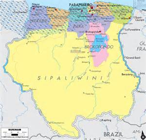 map of suriname south america political map of surinam ezilon maps