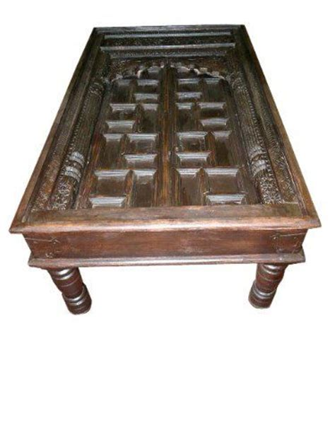 Antique Old Door Coffee Table Carved India Furniture By Indian Door Coffee Table
