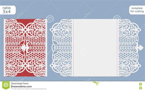 Laser Cut Wedding Invitation Card Template Vector Cut Out The Paper Card With Lace Pattern Card Cut Out Template