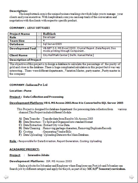 Resume Format Pdf For Mca Professional Resume Resume Sle Of Mca