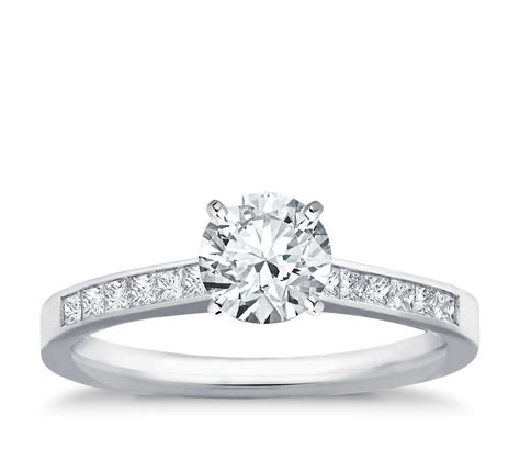 channel set princess cut engagement ring in 14k