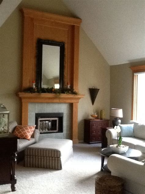 update golden oak fireplace and window trim