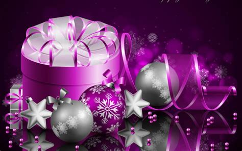 merry christmas  happy  year purple gift box