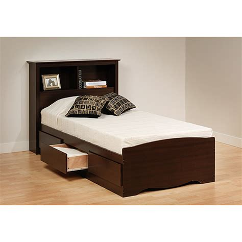 twin platform bed with headboard prepac edenvale twin platform storage bed with headboard espresso walmart com